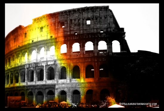 Roman Colosseum in lights